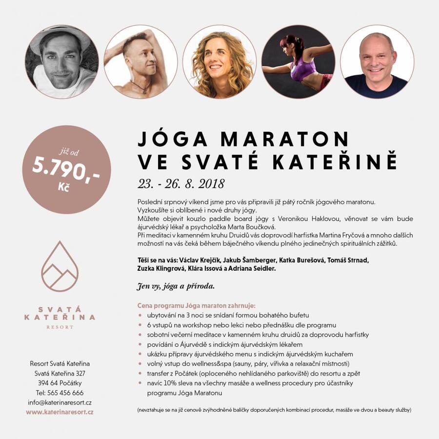 Jóga maraton v Resortu Svatá Kateřina 23.-26.8.2018